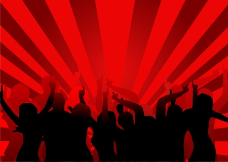 A background illustration of a group of dancers in silhouette on a red background with a center highlight and red sunbust effect lighting Vector