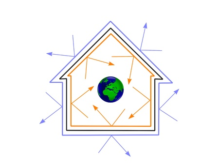 insulating: An energy efficiency concept house showing how energy efficiency can protect the planet Illustration
