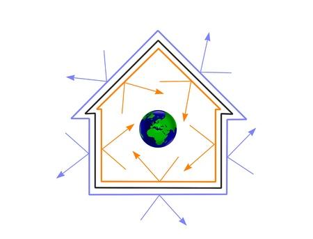 eficiencia energetica: Una casa de concepto de eficiencia de energ�a mostrando c�mo la eficiencia energ�tica puede proteger el planeta Vectores