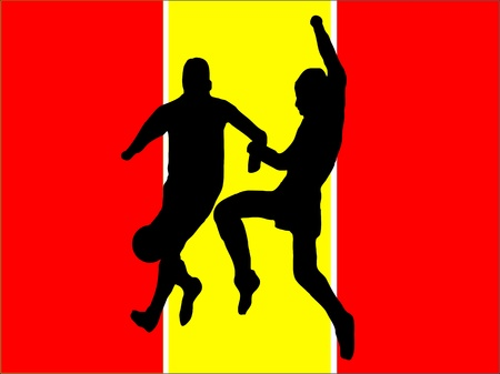 Footballers in silhouette against a red and yellow spanish flag design Vector