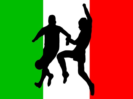futball: Footballers in silhouette against a green white and red italian flag design