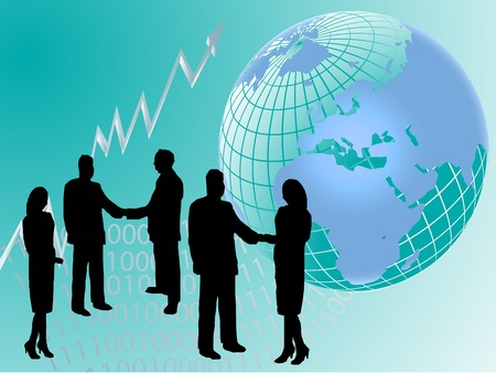 A group of business people in silhouette shaking hands in front of a graph showing upwrds trends and a map of the world