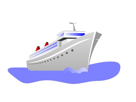 luxury travel: Una ilustraci�n vectorial de un barco de crucero aislado en blanco