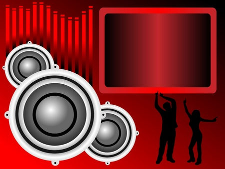 A musical vector background in shades of red with dancers graphic equalizer bars and room for text Vector