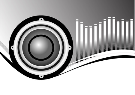 A vector musical background illustration with a large audio speaker on a Black and white backdrop with a graphic equalizer with room for text