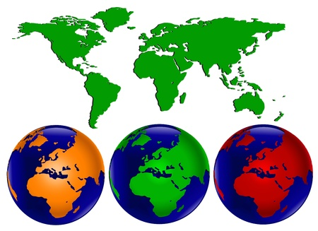 Vector illustration with three different coloured world globes with europe and africa facing forward and a map of the world which can be separated into differnet continents easily. Vector