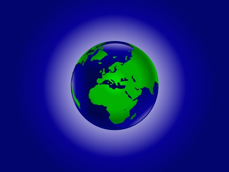A vector illustration of the world in blue and green Vector