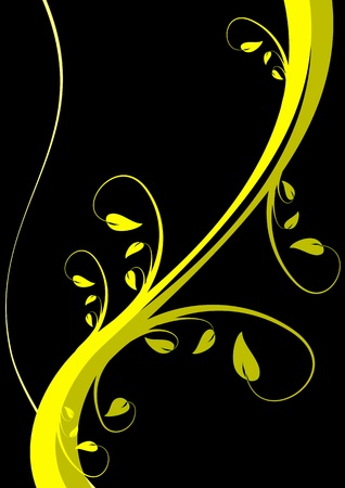 mustard plant: A stylized floral vector background design on a black backdrop