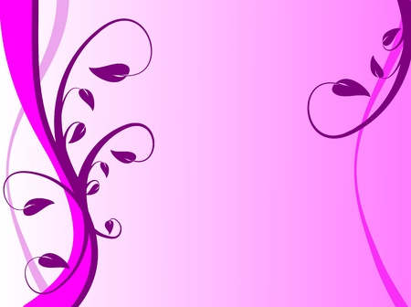 An abstract lilac floral background with purple leaves and fronds on a lighter  graduated background. The image has room for text Vector