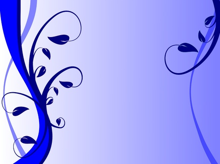 An abstract blue floral background with leaves and fronds on a lighter graduated  background. The image has room for text Illustration