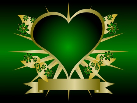 A gothic gold and green floral hearts design with room for text on a black background Stock Vector - 8443832