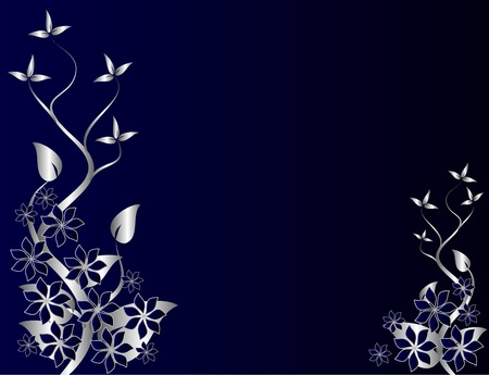 royal: A gold floral fan effect design with room for text on a royal blue background