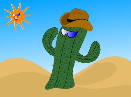 A cartoon cactus wearing a cowboy hat with a laughing sun wearing sunglasses Vector