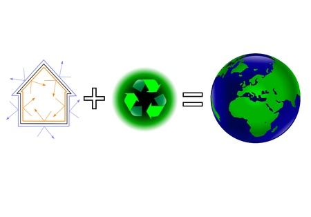 A global warming vector illustration showing that energy wfficiency plus recycling keeps a healthy green earth Vector