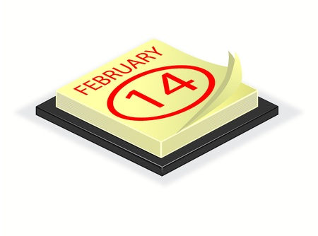 february 14th: A illustration of a desk calender turned to valentines day February 14th