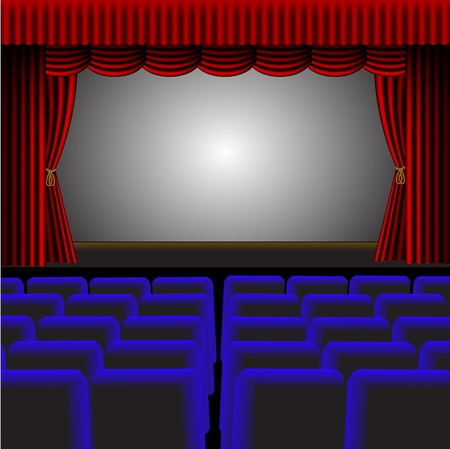 cinema screen: A vector theatre or cinema with a screen providing room for text Illustration