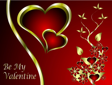 A vector valentines background with a series of  gold hearts on a deep red backdrop and a large central heart with room for text Vector