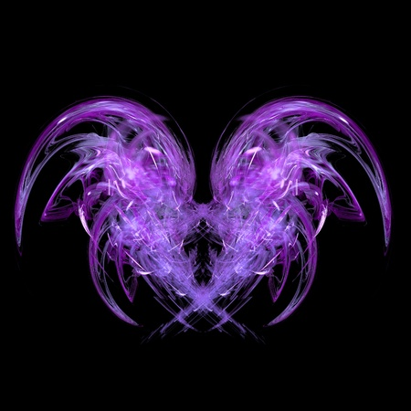 abstract purple wings fractal background on a black background Stock Photo - 8872188