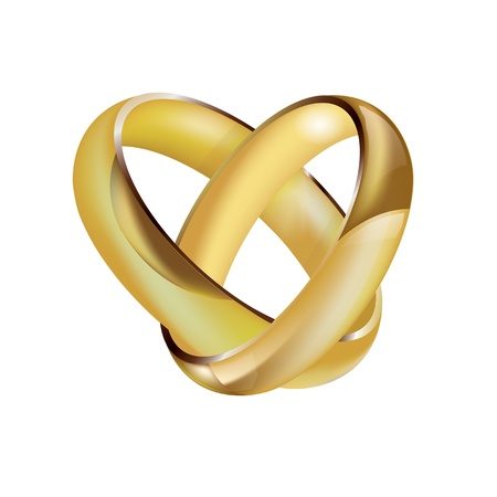 intertwined: A pair of intertwined ladies and mens wedding rings in the shape of a heart