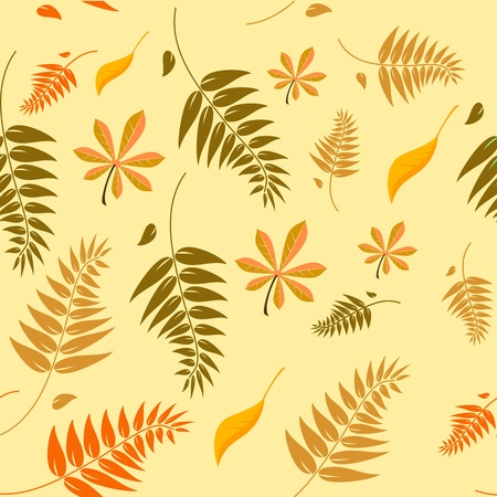 kitchen tile: Seamless autumn leaves background with a range of different types of leaves in autumn colours which can be tiled seamlessly in all directions Illustration