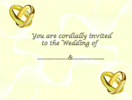 A wedding invitation card with intertwined gold rings and room for text Stock Vector - 9589467