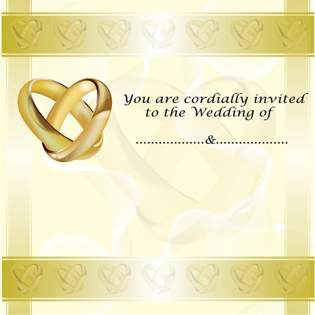A wedding invitation card with intertwined gold rings and room for text Vector