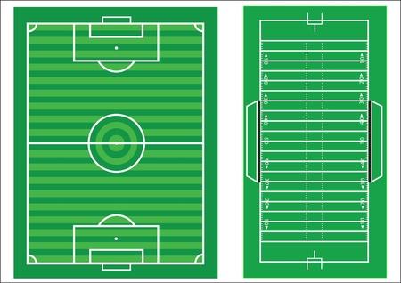 Diagrammi di scala di un campo da calcio e un campo di football americano, con tutte le marcature e le dimensioni di scala Archivio Fotografico - 10244743