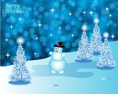 Abstract winter vector background scene with  snowy christmas trees and a snowman Stock Vector - 10253687