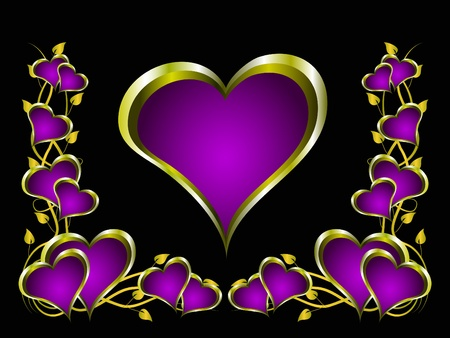 mauve: A purple hearts Valentines Day Background with gold hearts and flowers on a black background Illustration