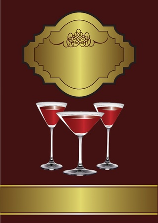 A Drinks Menu Template with drinks glasses on a maroon and gold background Vector