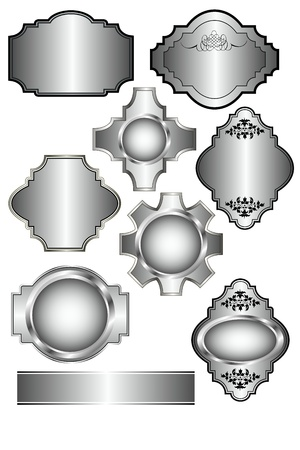 Set of Silver labels which can be used on menu templates, wedding invites and as bottle lables Stock Vector - 10341727
