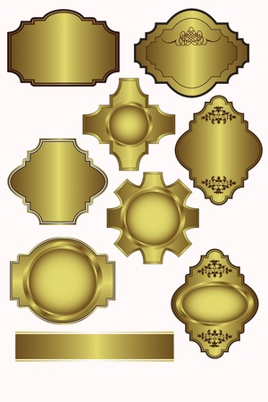 Set of Gold labels which can be used on menu templates, wedding invites and as bottle lables Vector