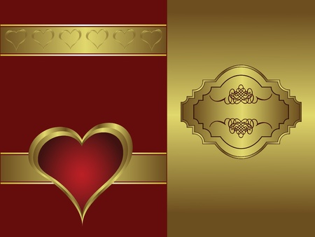 gold plaque: A valentines background with a   gold heart on a deep red backdrop  with a gold plaque and  room for text Illustration