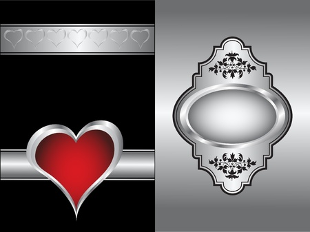 valentines background with silver hearts on a black backdrop  with a silver plaque and  room for text Vector