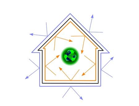 how: Una casa de concepto de eficiencia energ�tica que muestra c�mo la eficiencia energ�tica puede proteger el planeta Vectores