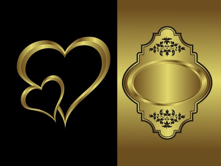 gold plaque: valentines background with a   gold heart on a black backdrop  with a gold plaque and  room for text