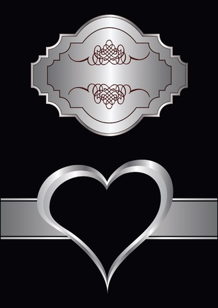 lustre: valentines background with silver hearst on a black backdrop  with a silver plaque and  room for text