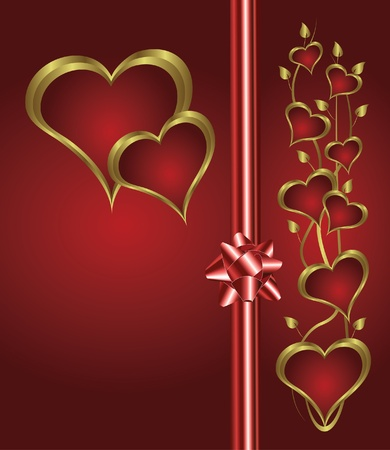 valentines background with gold hearts on a deep red backdrop  with   room for text Stock Vector - 10752207