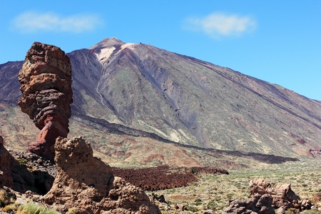 The conical volcano Mount Teide or El Teide in Tenerife is Spains highest mountain. It has featured as the location of many hollywood films and is the premier tourist attraction in the Canaries photo
