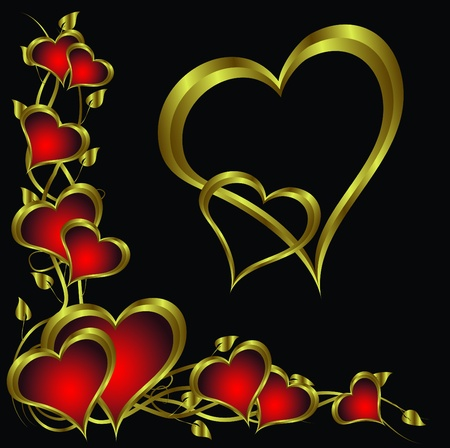 A vector valentines background with a   gold heart on a black backdrop  with a gold plaque and  room for text Vector