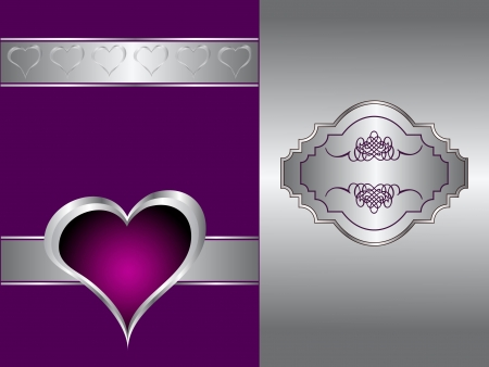 purple hearts: A purple hearts Valentines Day Background with gold hearts and flowers on a black background Illustration