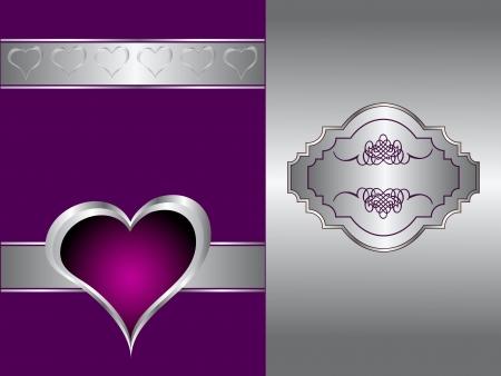 porpora: Un cuore viola San Valentino Day sfondo con cuori e fiori d'oro su sfondo nero Vettoriali