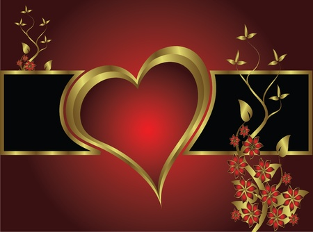 golden heart: A vector valentines background with gold hearts on a deep red backdrop  with   room for text