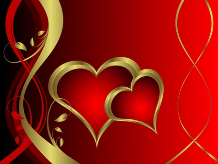 A vector valentines background with gold hearts on a deep red backdrop  with   room for text Stock Vector - 10960517