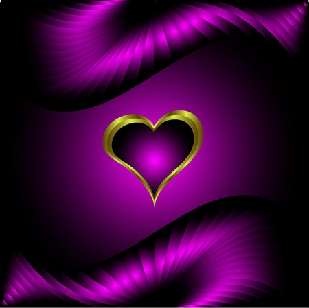 A purple hearts Valentines Day Background with gold hearts  on a purple silk background Vector