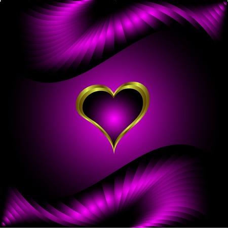 purple silk: Un San Valent�n corazones p�rpura de fondo el d�a con un coraz�n de oro sobre fondo de seda p�rpura Vectores