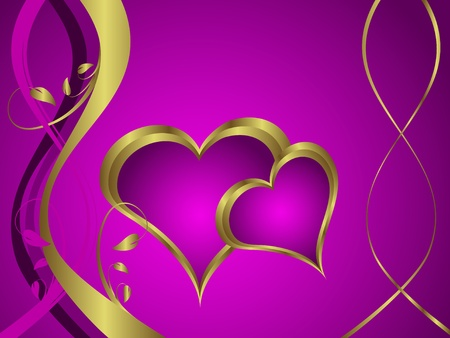 velvet ribbon: A purple hearts Valentines Day Background with gold hearts  on a purple and gold  background