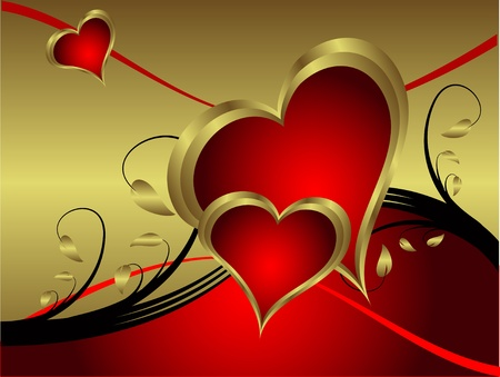 A vector valentines background with gold hearts on a deep red backdrop  with   room for text Vector