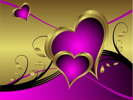 A purple hearts Valentines Day Background with gold hearts  on a purple and gold  background Vector