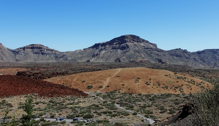 The outer caldera forming the main plateau in the Teide national park. The conical volcano El Teide spains highest mountain sits in  the center of the plateau formed by the caldera photo